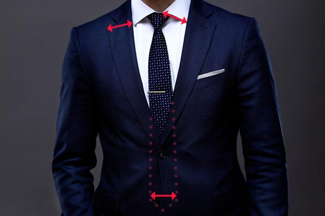 ラペルとネクタイとシャツの襟の幅を合わせる
