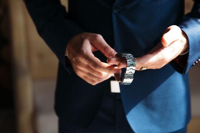 ステンレスベルトの時計