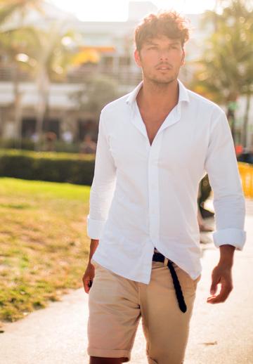 白シャツ&ショートパンツ